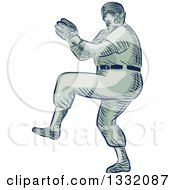 Clipart Of A Retro Sketched Or Engraved Baseball Player Pitching Royalty Free Vector Illustration