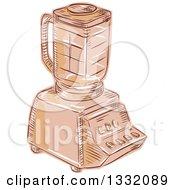 Retro Sketched Or Engraved Kitchen Blender