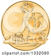 Retro Sketched Or Engraved Happy Housewife Wearing An Apron And Ironing Laundry In An Orange Circle