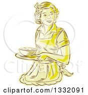 Clipart Of A Retro Sketched Or Engraved Yellow Housewife Or Waitress Wearing An Apron And Serving A Bowl Of Food Royalty Free Vector Illustration