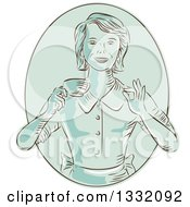 Clipart Of A Retro Sketched Or Engraved Green Happy Housewife Or Waitress Gesturing Perfect And Holding A Cup Of Coffee In An Oval Royalty Free Vector Illustration