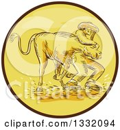 Clipart Of A Retro Sketched Or Engraved Cowboy Wrestling A Bull In A Brown And Yellow Circle Royalty Free Vector Illustration