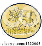 Poster, Art Print Of Retro Sketched Or Engraved Cowboy Wrestling A Bull In A Brown And Tan Oval
