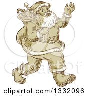 Clipart Of A Retro Sketched Or Engraved Christmas Santa Walking And Waving Royalty Free Vector Illustration