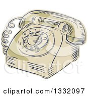 Clipart Of A Retro Sketched Or Engraved Vintage Table Top Rotary Telephone Royalty Free Vector Illustration