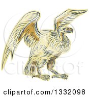 Clipart Of A Retro Sketched Or Engraved Turkey Vulture Buzzard Condor Bird Royalty Free Vector Illustration by patrimonio