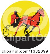 Clipart Of A Retro Red Man Horse Harness Racing In A Yellow And Black Circle Royalty Free Vector Illustration
