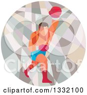 Clipart Of A Retro Low Poly Geometric Male Boxer Punching In A Circle Royalty Free Vector Illustration