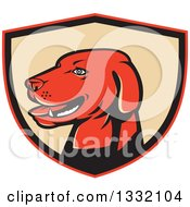 Clipart Of A Retro Labrador Retriever Dog Head In A Red Black And Tan Shield Royalty Free Vector Illustration by patrimonio