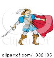 Clipart Of A Cartoon Musketeer With A Cape Pointing And Holding A Sword Royalty Free Vector Illustration