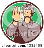 Clipart Of A Retro White Male Police Officer Gesturing Stop With His Hand Inside A Brown White And Green Circle Royalty Free Vector Illustration