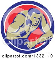 Clipart Of A Retro Male Track And Field Shot Put Athlete Throwing In A Blue White And Red Circle Royalty Free Vector Illustration