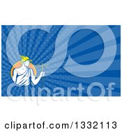 Poster, Art Print Of Retro Oman God Mercury With A Caduceus And Dark Blue Rays Background Or Business Card Design