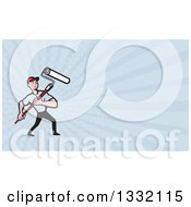 Clipart Of A Cartoon Male House Painter With A Roller Brush And Pastel Blue Rays Background Or Business Card Design Royalty Free Illustration