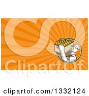 Clipart Of A Retro Worker Carrying A Case Of Beer Bottles And Orange Rays Background Or Business Card Design Royalty Free Illustration by patrimonio