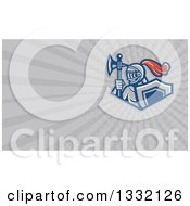Clipart Of A Retro Knight With An Axe And Shield And Gray Rays Background Or Business Card Design Royalty Free Illustration