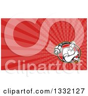 Clipart Of A Retro Cable Guy And Red Rays Background Or Business Card Design Royalty Free Illustration by patrimonio