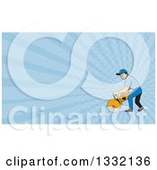 Clipart Of A Cartoon White Male Construction Worker Using A Concrete Cutter Tool And Blue Rays Background Or Business Card Design Royalty Free Illustration