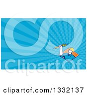 Clipart Of A Retro Male Electrician Holding A Bolt Over A Diamond Of Orange Rays And Blue Rays Background Or Business Card Design Royalty Free Illustration by patrimonio