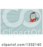 Clipart Of A Retro Cartoon White Male Construction Worker Using A Concrete Cutter Tool And Turquoise Rays Background Or Business Card Design Royalty Free Illustration