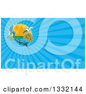 Clipart Of A Hiker Scuba Diver And Red Billed Tropicbird With Black Eyed Susan Flowers On An Island And Blue Rays Background Or Business Card Design Royalty Free Illustration by patrimonio