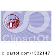 Clipart Of A Retro Waiter Carrying Wine And A Corkscrew By Grapes And Barrels And Purple Rays Background Or Business Card Design Royalty Free Illustration