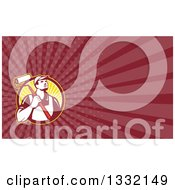 Clipart Of A Retro Male House Painter With A Roller Brush Over His Shoulder And Maroon Rays Background Or Business Card Design Royalty Free Illustration