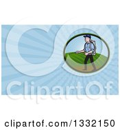 Retro Pest Exterminator Worker Spraying Chemicals And Blue Rays Background Or Business Card Design
