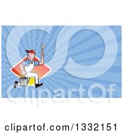 Cartoon Plasterer Construction Worker Running With Trowel And Pail Over A Diamond Of Sunshine And Blue Rays Background Or Business Card Design