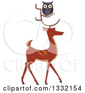 Clipart Of A Gray Owl On A Buck Deers Antlers Royalty Free Vector Illustration by BNP Design Studio