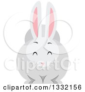 Clipart Of A Chubby White Rabbit Royalty Free Vector Illustration