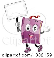 Clipart Of A Cartoon Book Character Waving And Holding A Blank Sign Royalty Free Vector Illustration