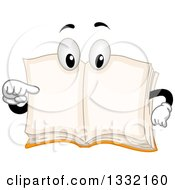 Clipart Of A Cartoon Book Character Pointing To Its Open Blank Pages Royalty Free Vector Illustration