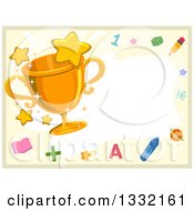 Clipart Of A Gold Trophy With Stars And School Items Making A Border Royalty Free Vector Illustration