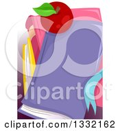 Clipart Of A Red Apple On A Stack Of School Books Royalty Free Vector Illustration