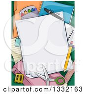 Clipart Of School Supplies Paper Scissors And A Pencil Royalty Free Vector Illustration