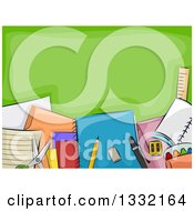 Clipart Of A Green Chalkboard With School Supplies Royalty Free Vector Illustration