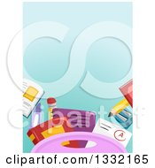 Clipart Of A Gradient Blue Background With School Supplies Royalty Free Vector Illustration