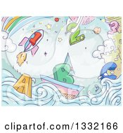 Clipart Of Sketched Alphabet Letters And Numbers At An Ocean Side Castle With A Rainbow And Rocket Royalty Free Vector Illustration by BNP Design Studio