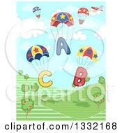 Clipart Of ABC Alphabet Parachutes And A Plane Over A Hilly Landscape Royalty Free Vector Illustration