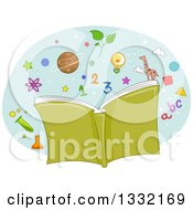 Clipart Of A Green Open Book With Alphabet Letters Numbers And Science Icons Royalty Free Vector Illustration