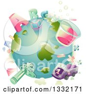 Clipart Of A Planet Earth With ABC Alphabet Letters Numbers And Items Around It Royalty Free Vector Illustration
