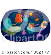 Clipart Of Futuristic Platforms In Outer Space With Abc Alphabet Letters Royalty Free Vector Illustration by BNP Design Studio