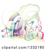 Clipart Of A Rainbow Clouds DNA Strand Books And Science Equipment Royalty Free Vector Illustration