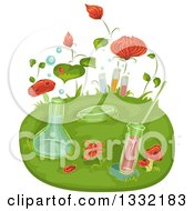Clipart Of Science Laboratory Flasks And Test Tubes With Insects And Flowers Royalty Free Vector Illustration