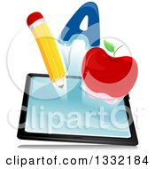 Clipart Of A Letter A Apple And Pencil Emerging From A Tablet Computer Royalty Free Vector Illustration