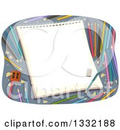 Clipart Of A Sketch Pad With Colorful Pencils And A Sharpener Royalty Free Vector Illustration