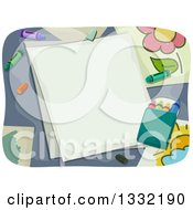 Clipart Of Blank Pieces Of Paper With Crayons And Artwork Royalty Free Vector Illustration
