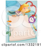 Clipart Of A Backpack With Art Supplies And Blank Paper Royalty Free Vector Illustration