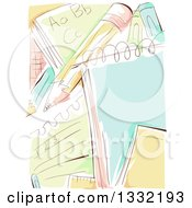 Clipart Of A Sketched Background Of Notepads Writing And A Pencil Royalty Free Vector Illustration
